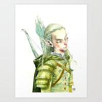 legolas Art Prints featuring Legolas by Roger Cruz