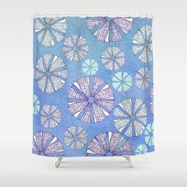 sea urchin blue watercolor Shower Curtain
