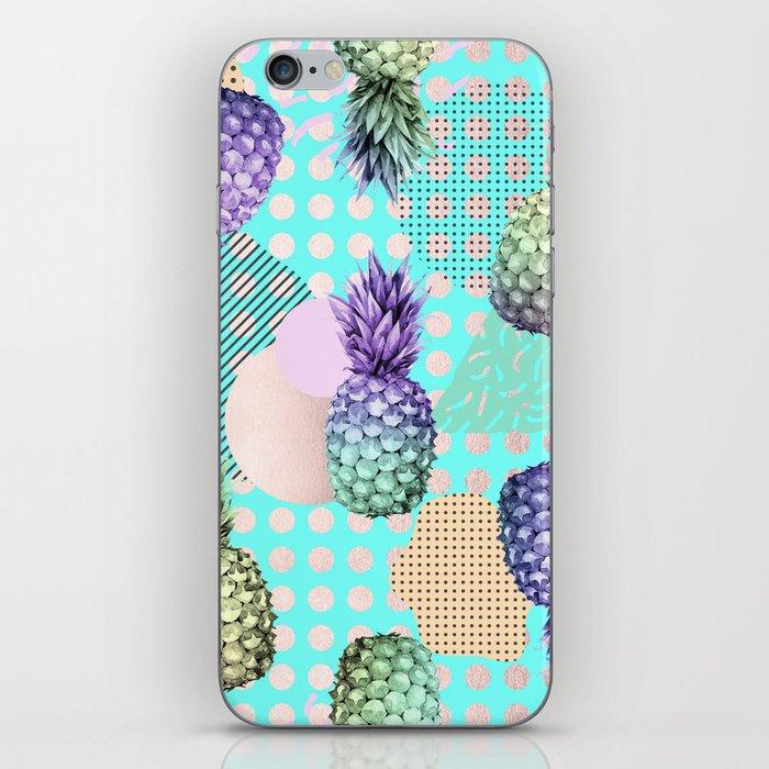 Pineapple Summer Rainbow Rose Gold iPhone Skin