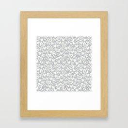 MESSY HEARTS: IVORY GRAY Framed Art Print