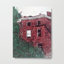 red brick house obstructed by trees linocut Metal Print