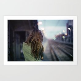Girl in a Milano Night Art Print
