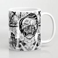 edgar allen poe Mugs featuring Poe by Theo Szczepanski