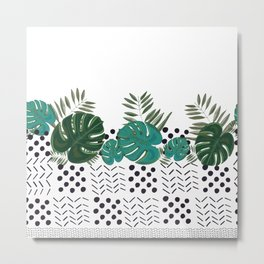 Dots and lines with hand drawn monstera leaves Metal Print