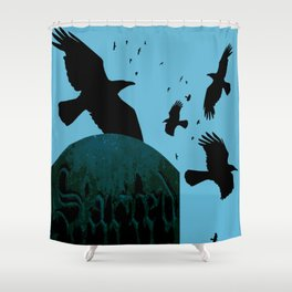 Sacred Gothic Text Gravestone With Crows and Ravens Shower Curtain
