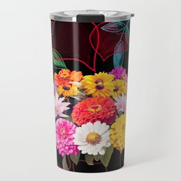 seamless floral pattern with hearts and leaves Travel Mug