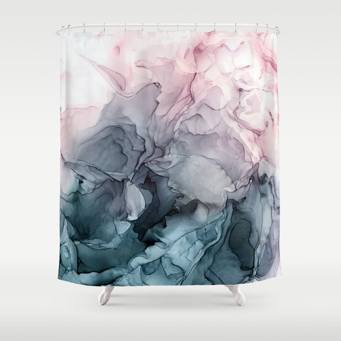 Blush And Paynes Grey Flowing Abstract Painting Shower Curtain