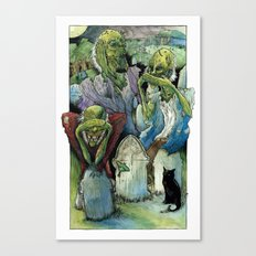 Three Wise Zombies Canvas Print