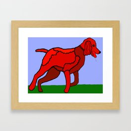 Romping Miniature Apricot Poodle Cartoon Framed Art Print