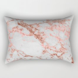 Stylish white marble rose gold glitter texture image Rectangular Pillow