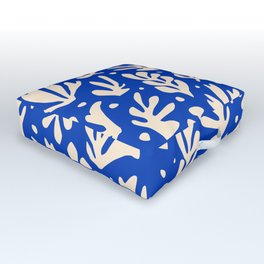 matisse pattern with leaves in blu Outdoor Floor Cushion