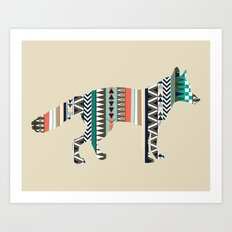 Fox With Tribal Pattern Art Print