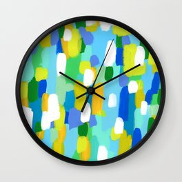 Meet Me In The Woods - green blue abstract painting white mint green brush lines pattern Wall Clock