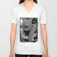 gears of war V-neck T-shirts featuring Big Gears by Chicca Besso
