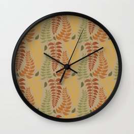Leaf Fronds in Fall Colors on Tan Wall Clock
