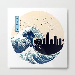 Miami Kanagawa Wave Metal Print