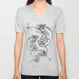 Catch - Chameleon and Dragonfly Illustration Hand Drawing from Inktober 2019 Unisex V-Neck