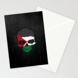Flag of Palestine on a Chaotic Splatter Skull Stationery Cards
