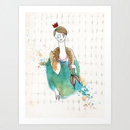 Girl and fish (presence) Art Print