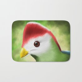 Red crested turaco Bath Mat