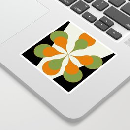 Mid-Century Modern Art 1.4 - Green & Orange Flower Sticker