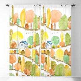 autumn landscape watercolor  Blackout Curtain