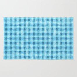 Aqua Blue Velvety Gingham Plaid Texture Rug