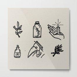 Apothecary Sketches Metal Print