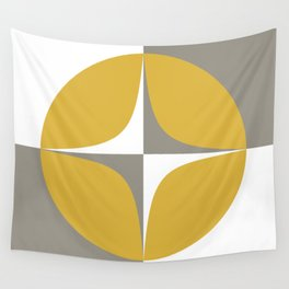 Neutra Quattro Minimalist Mid Century Modern Atomic Age Pattern in Mustard Yellow, Grey, and White Wall Tapestry