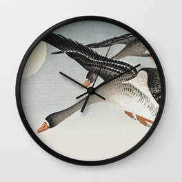 Ohara Koson - Birds at full moon Wall Clock
