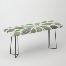 Mid-Century Green Leaves Bench
