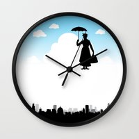 mary poppins Wall Clocks featuring mary poppins by notbook