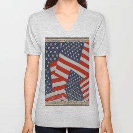 Patriotic Americana Flag Pattern Art #2 Unisex V-Neck