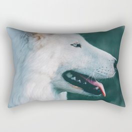 White Wolf Tongue Out (Color) Rectangular Pillow