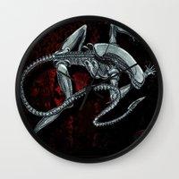 xenomorph Wall Clocks featuring Darrell Merrill Nerd Artist Xenomorph by Nerd Artist DM