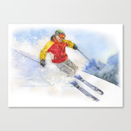 Skier, watercolor paintingon . Canvas Print