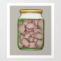 pigs Art Prints featuring Pickled Pigs by Megs stuff...