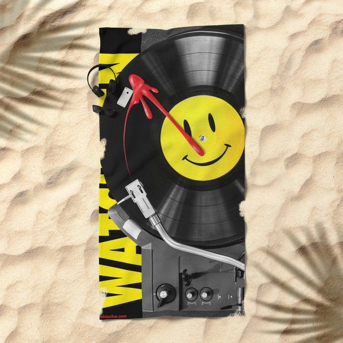 """Bloody Turntable"" Watchmen fan art Beach Towel"