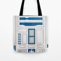 r2d2 Tote Bags featuring R2D2 by Alison Lee