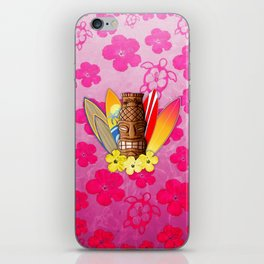 Surfboards And Tiki Mask Pink Flowers iPhone Skin