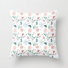 Flora & Butterflies (White) Throw Pillow