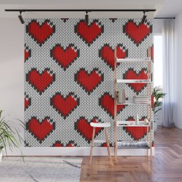 Knitted heart pattern - white Wall Mural
