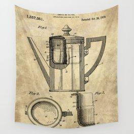 Coffee Pot Blueprint Wall Tapestry