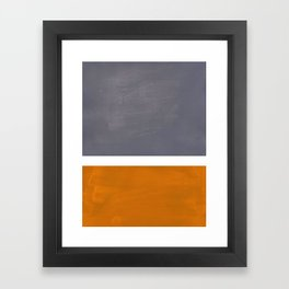 Grey Yellow Ochre Rothko Minimalist Mid Century Abstract Color Field Squares Framed Art Print