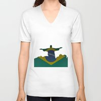 brazil V-neck T-shirts featuring Brazil by Jimbob1979