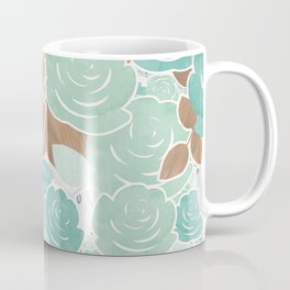 Aqua Mint & Gold Roses Floral Watercolor Pattern Coffee Mug