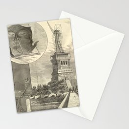 Construction of The Statue of Liberty Illustration Stationery Cards