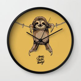 Hang in There Baby Sloth Wall Clock