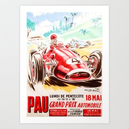 Grand Prix Pau, vintage poster, car t-shirt, car poster Art Print