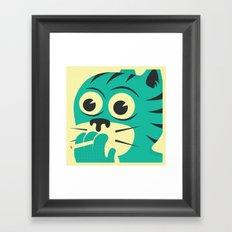 SMOKING CAT Framed Art Print